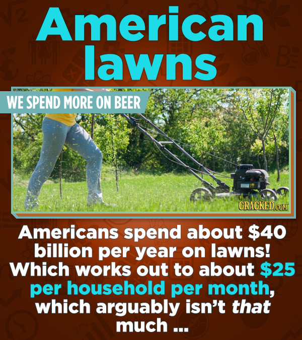 Statistics That Change How You See the World - Americans spend about $40 billion per year on laws! Which works out to about $25 per household per mont