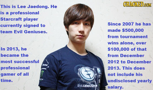 GRACKEDOG This is Lee Jaedong. He CONT is a professional Starcraft player Since 2007 he has currently signed to team Evil Geniuses. made $500,000 from