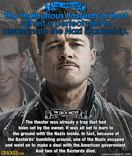THE HEROES The Inglourious Basterds almost ruined a perfect plot to assassinate the Nazi leadership. THE DICK MOVE The theater was already a trap that