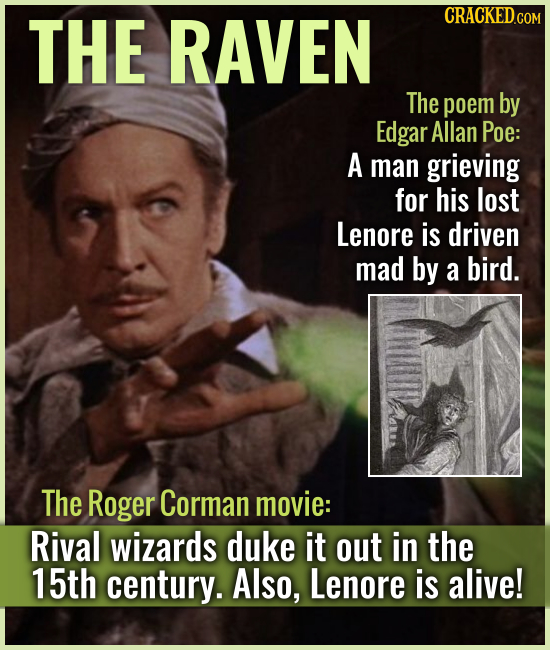 THE RAVEN The poem by Edgar Allan Poe: A man grieving for his lost Lenore is driven mad by a bird. The Roger Corman movie: Rival wizards duke it out i