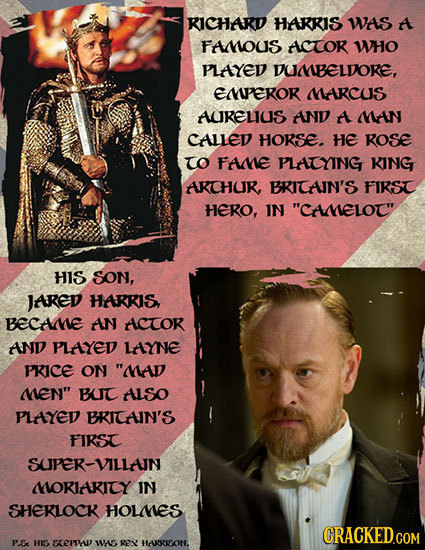 RICHARD HARRIS WAS A FAOUS ACTOR WHO PLAYED DUMMBELDORE, Eperor DARCUS AURELIUS AND A MMAN CALLED HORSE. HE ROSe TO FAME PLATYING KING AKCHUR BRICAIN'