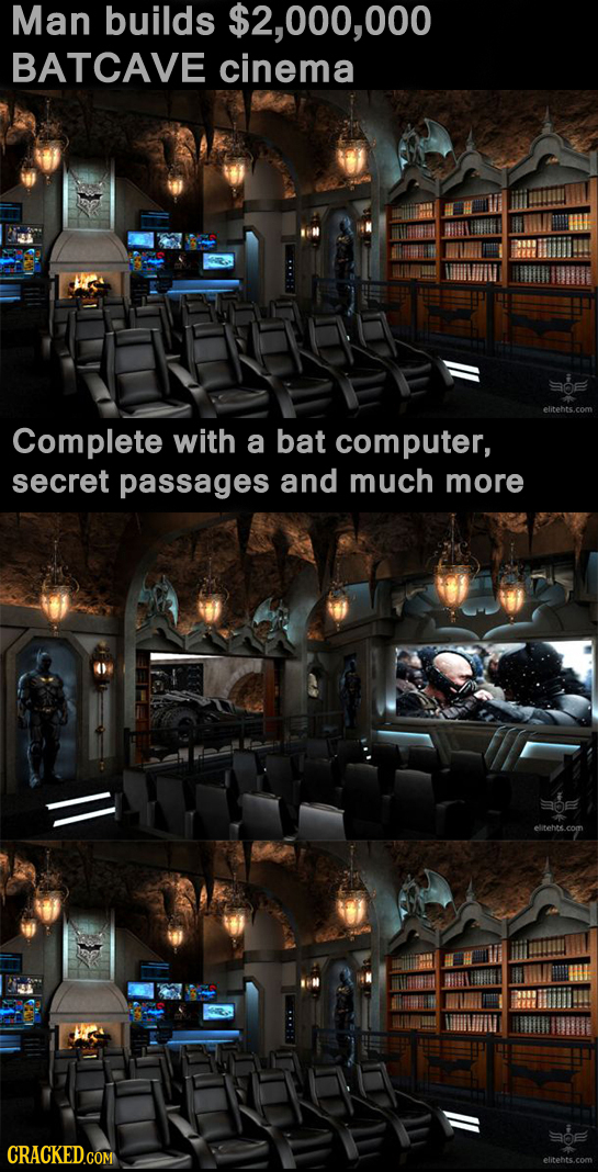 Man builds $2,000,000 BATCAVE cinema Complete with a bat computer, secret passages and much more