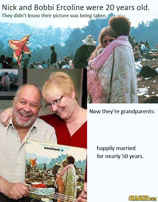 Nick and Bobbi Ercoline were 20 years old. They didn't know their picture was being taken. Now they're grandparents: uioodrtode happily married for ne