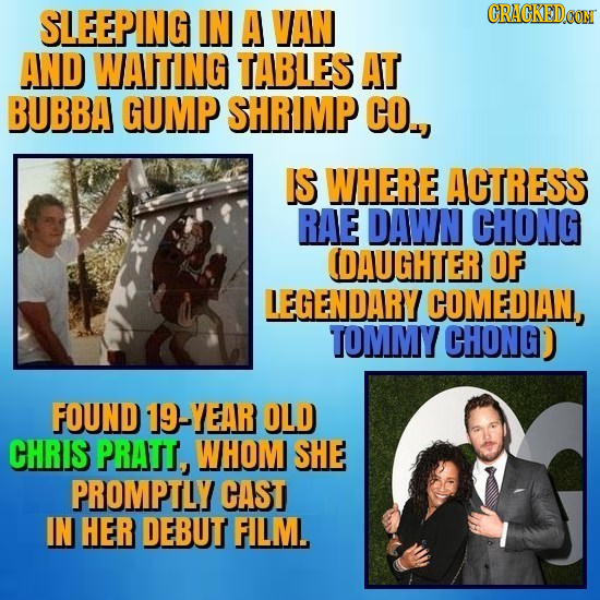 SLEEPING IN A VAN CRACKEDCON AND WAITING TABLES AT BUBBA GUMP SHRIMP CO., IS WHERE ACTRESS RAE DAWN CHONG (DAUGHTER OF LEGENDARY COMEDAN, TOMMY CHONGD