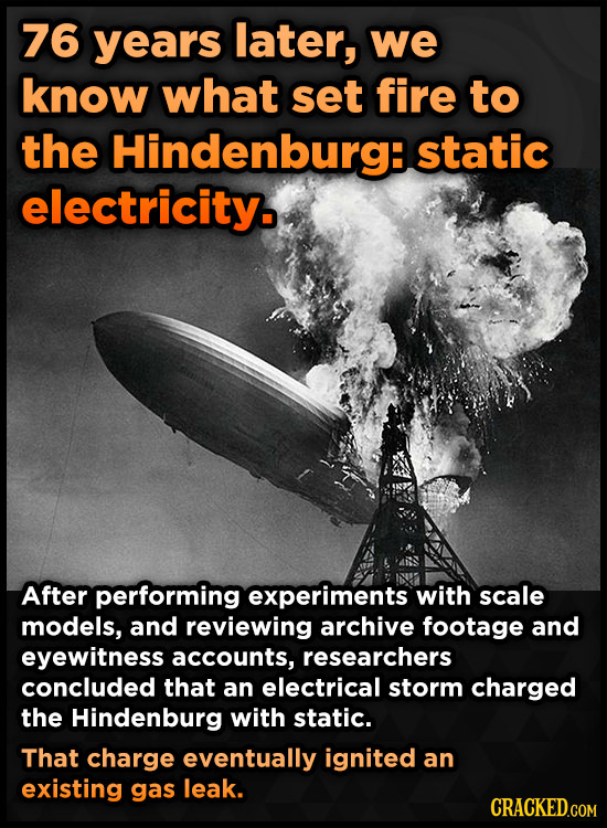76 years later, we know what set fire to the Hindenburg: static electricity. After performing experiments with scale models, and reviewing archive foo