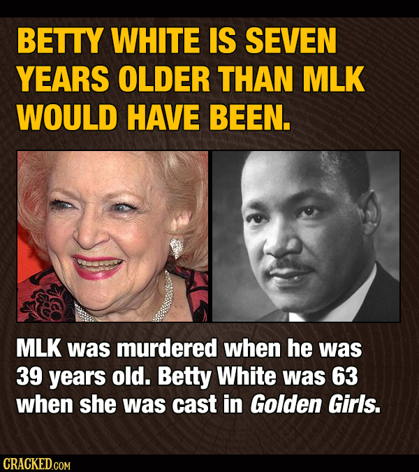 BETTY WHITE IS SEVEN YEARS OLDER THAN MLK WOULD HAVE BEEN. MLK was murdered when he was 39 years old. Betty White was 63 when she was cast in Golden G