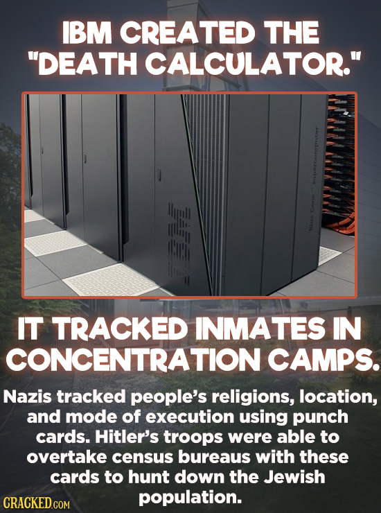 """Evil Things Huge Companies Have Done - IBM created the """"Death Calculator"""" — an early precursor to the computer — to help Nazis keep track of concentra"""