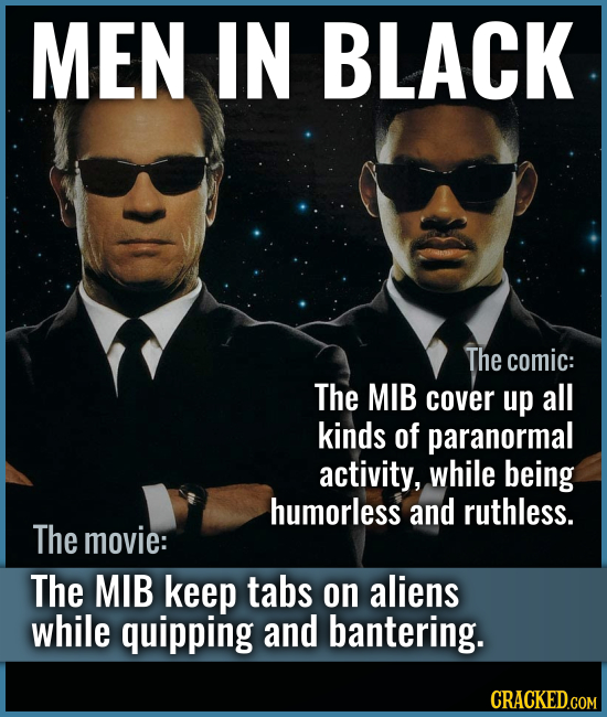 MEN IN BLACK The comic: The MIB cover up all kinds of paranormal activity, while being humorless and ruthless. The movie: The MIB keep tabs on aliens