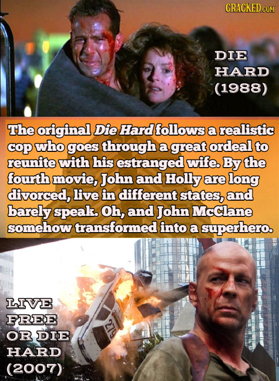 CRACKEDCON DIE HARD (1988) The original Die Hard follows a realistic cop who goes through a great ordeal to reunite with his estranged wife. By the fo