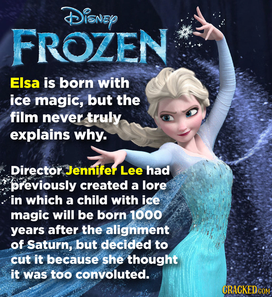 Disney FROZEN Elsa is born with ice magic, but the film never truly explains why. Director Jennifer Lee had previously created a lore in which a child