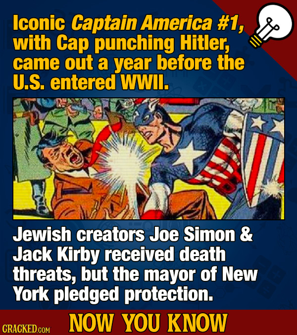 lconic Captain America #1, with Cap punching Hitler, came out a year before the U.S. entered WWil. Jewish creators Joe Simon & Jack Kirby received dea