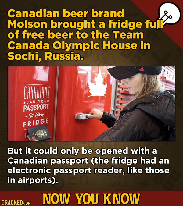Now You Know: 13 Facts That'll Exert The Old Cerebellum   - Canadian beer brand Molson brought a fridge full of free beer