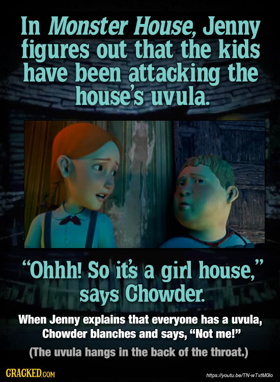 In Monster House, Jenny figures out that the kids have been attacking the house's uvula. Ohhh! So it's a girl house, says Chowder. When Jenny explai