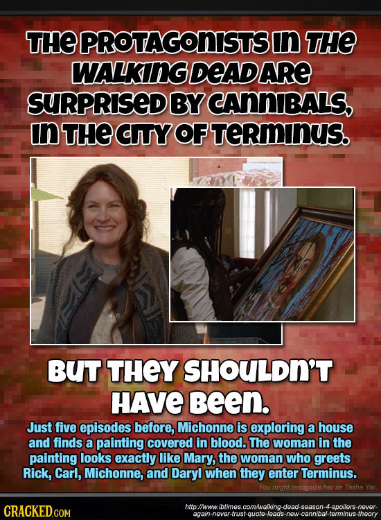 THEPROTAGONISTSIN THE WALKINGDEADARE SURPRISED BY CANNIBALS, In THE CITY OF TERmInUS. BUT THEY SHOULDN'T HAVE Been. Just five episodes before, Michonn