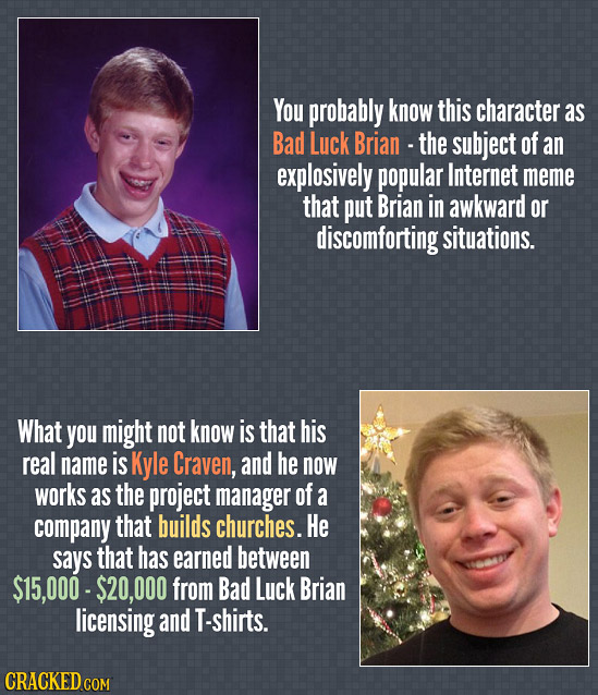 You probably know this character as Bad Luck Brian - the subject of an explosively popular Internet meme that put Brian in awkward or discomforting si