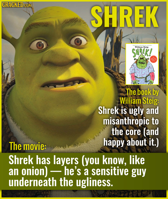 SHREK The book by William Steig: Shrek is ugly and misanthropic to the core (and happy about it.) The movie: Shrek has l