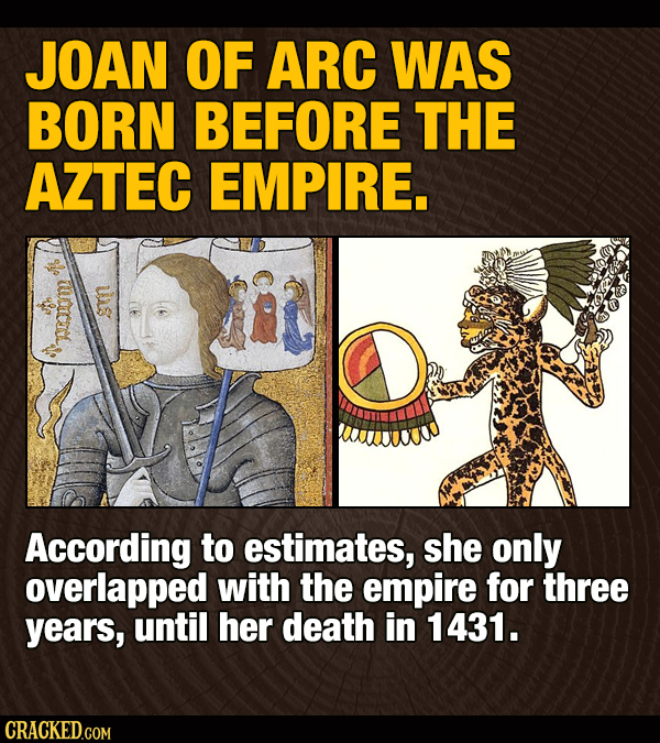JOAN OF ARC WAS BORN BEFORE THE AZTEC EMPIRE. According to estimates, she only overlapped with the empire for three years, until her death in 1431. CR