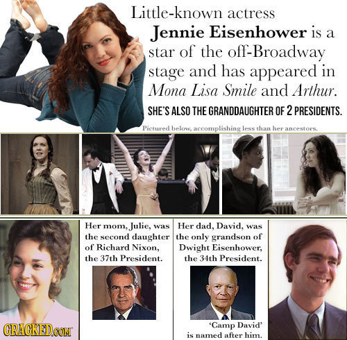 Little-known actress Jennie Eisenhower is a star of the off-Broadway stage and has appeared in Mona Lisa Smile and Arthur. SHE'S ALSO THE GRANDDAUGHTE