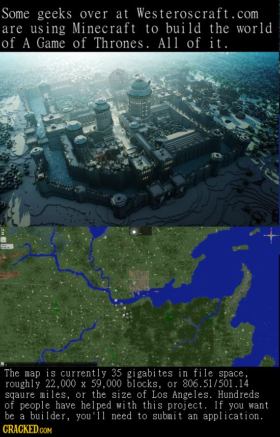 Some geeks over at Westeroscraft.com are using Minecraft to build the world of A Game of Thrones. All of i t. The map is currently 35 gigabites in fil
