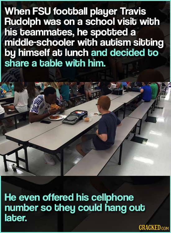 When FSU football player Travis Rudolph was on a school visit with his teammates, he spotted a middle-schooler with autism sitting by himself at lunch