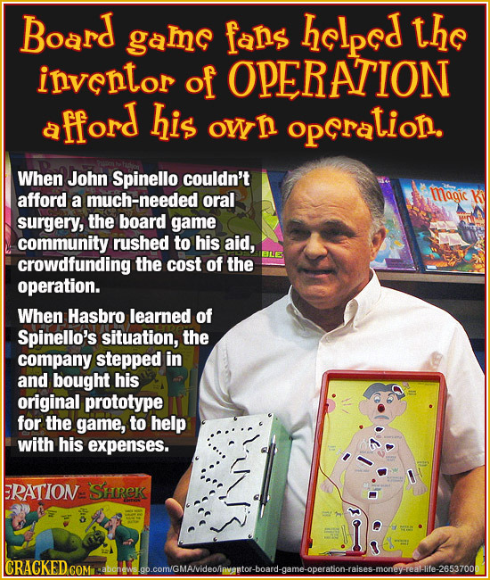 Board game fans helped the inventor of OPERATION a fford his own opcration. When John Spinello couldn't afford magic a much-needed oral surgery, the b