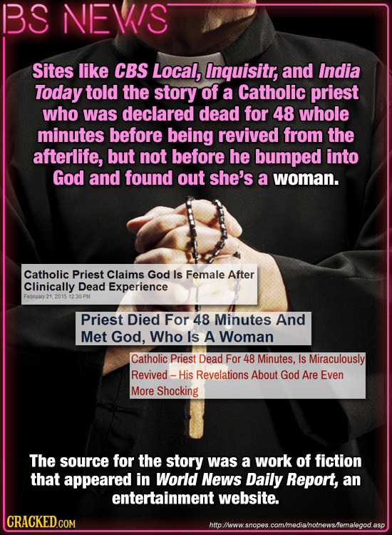 BS NEVIS Sites like CBS Local, Inquisitr, and India Today told the story of a Catholic priest who was declared dead for 48 whole minutes before being