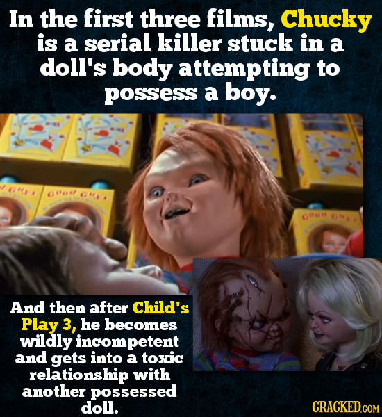 In the first three films, Chucky is a serial killer stuck in a doll's body attempting to POsSess a boy. O OONOES 14941 GO GA And then after Child's Pl