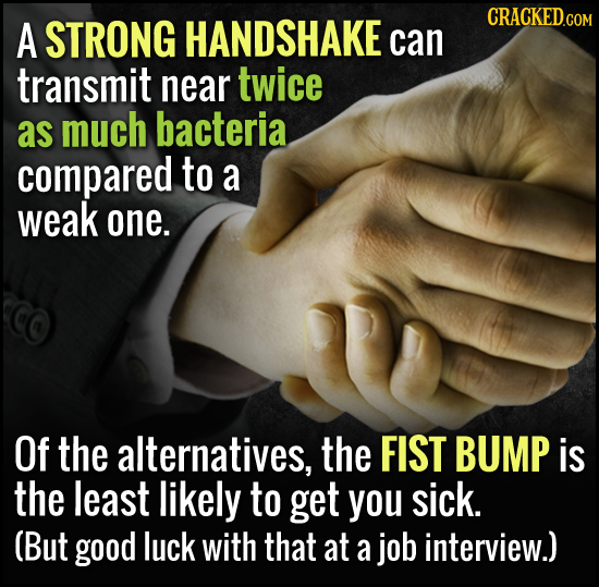 HANDSHAKE A STRONG can transmit near twice as much bacteria compared to a weak one. Of the alternatives, the FIST BUMP is the least likely to get you