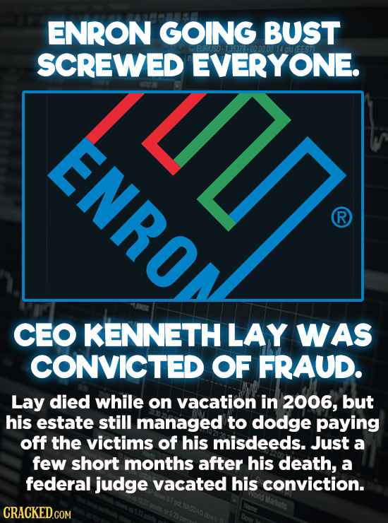 Evil Things Huge Companies Have Done - In 2001, Enron declared bankruptcy suddenly and without notice. This left thousands of employees and investors