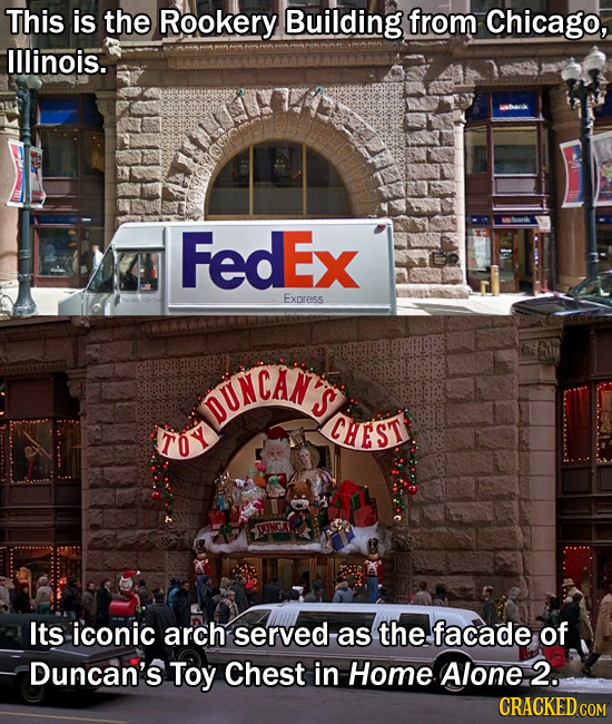 This is the Rookery Building from Chicago, lllinois. FedEx Express DUNCANS S TOY CHEST UNCA Its iconic arch served as the facade of Duncan's Toy Chest