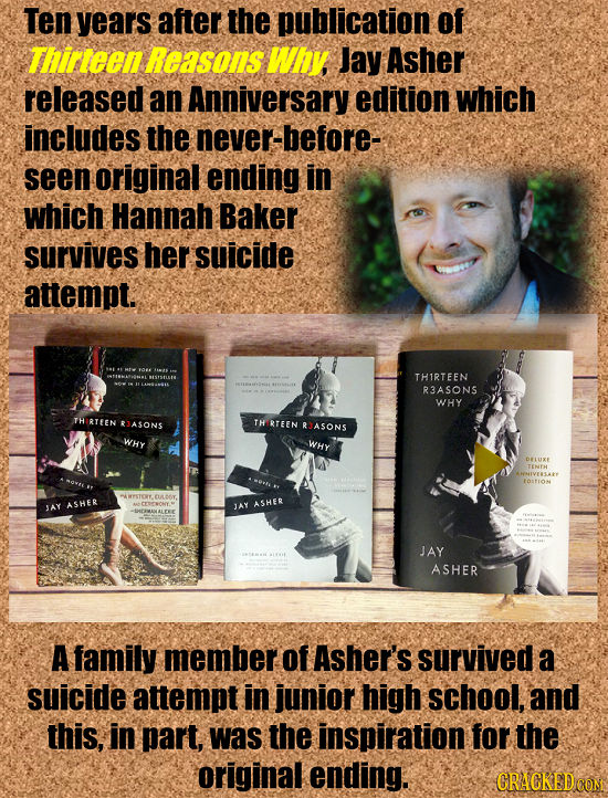 Ten years after the publication of rteen Reasons Why Jay Asher released an Anniversary edition which includes the never-before- seen original ending i