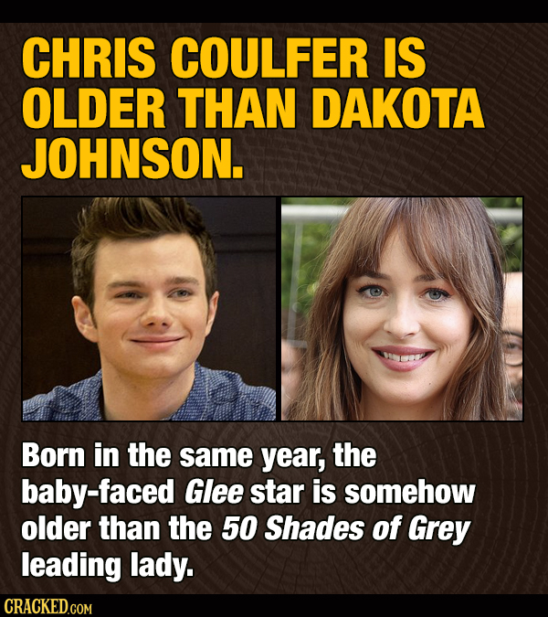 CHRIS COULFER IS OLDER THAN DAKOTA JOHNSON. Born in the same year, the baby-faced Glee star is somehow older than the 50 Shades of Grey leading lady.
