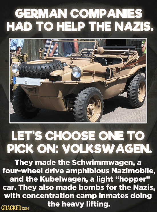 Evil Things Huge Companies Have Done - Volkswagen was a relatively new company when World War II broke out. So maybe that's why they teamed up with th