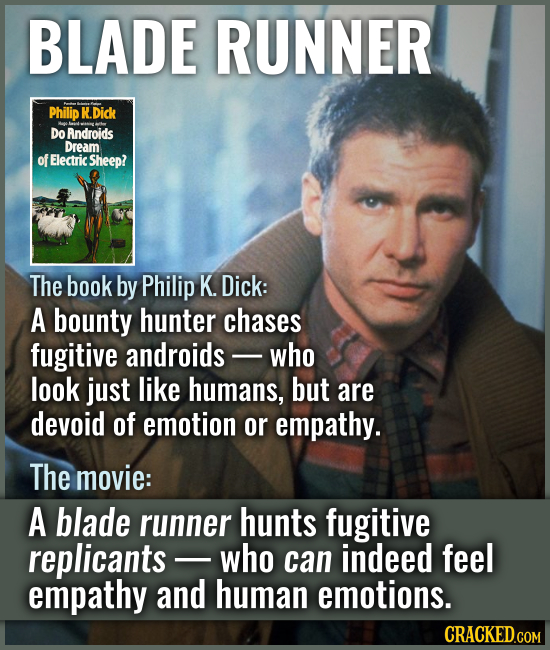 BLADE RUNNER The book by Philip K. Dick: A bounty hunter chases fugitive androids - who look just l