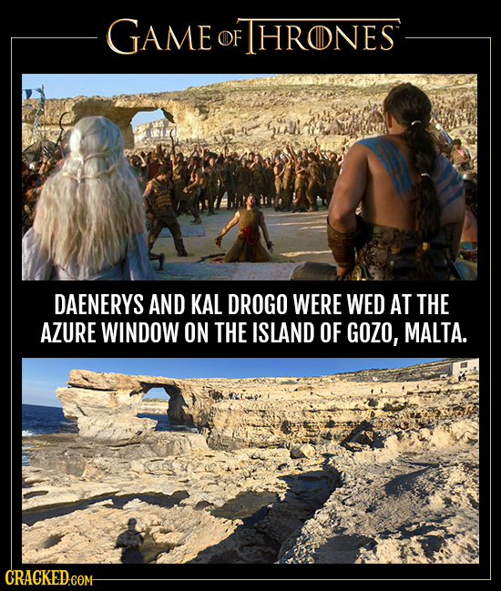 GAME OF FHRONES DAENERYS AND KAL DROGO WERE WED AT THE AZURE WINDOW ON THE ISLAND OF GOZO, MALTA.