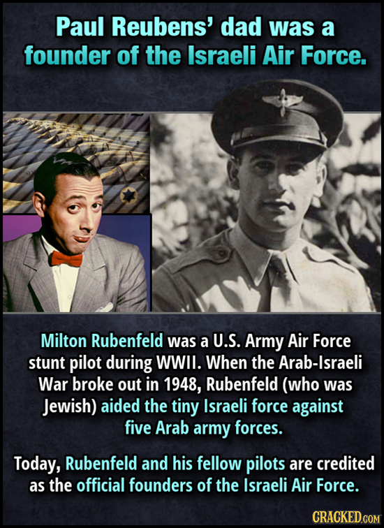 Paul Reubens' dad was a founder of the Israeli Air Force. Milton Rubenfeld was a U.S. Army Air Force stunt pilot during WWll. When the Arab-Israeli Wa