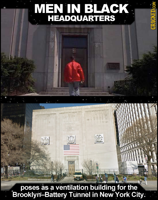 MEN IN BLACK HEADQUARTERS CRACKEDGOM poses as a ventilation building for the Brooklyn-Battery Tunnel in New York City: