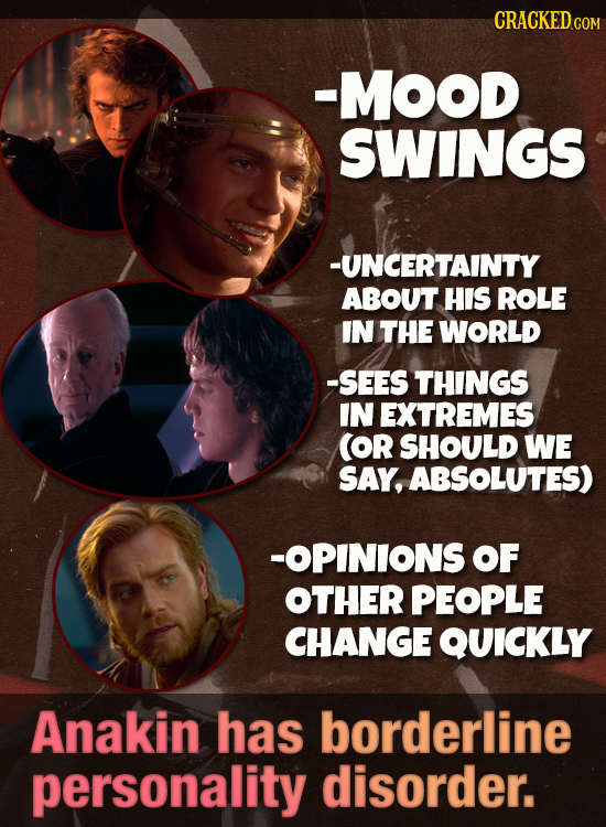-MOOD SWINGS -UNCERTAINTY ABOUT HIS ROLE IN THE WORLD -SEES THINGS IN EXTREMES (OR SHOULD WE SAY, ABSOLUTES) -OPINIONS OF OTHER PEOPLE CHANGE QUICKLY
