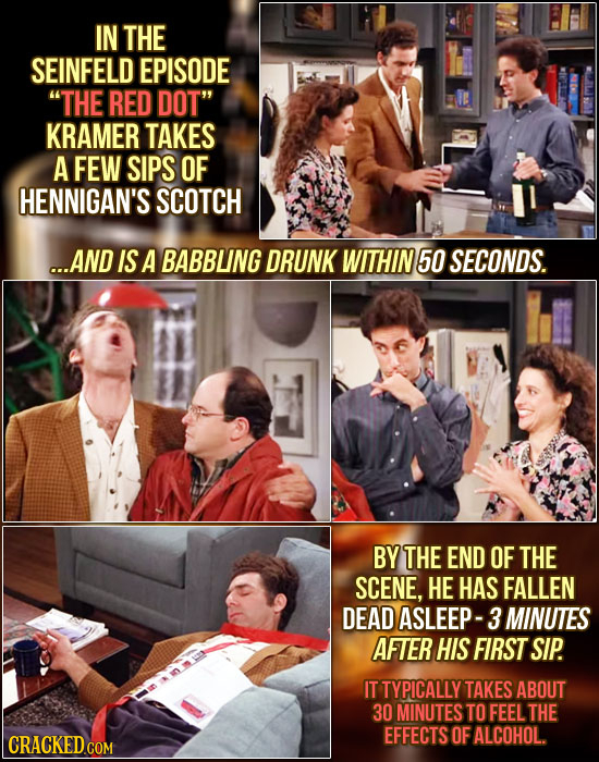 IN THE SEINFELD EPISODE THE RED DOT KRAMER TAKES A FEW SIPS OF HENNIGAN'S SCOTCH ...AND IS A BABBUNG DRUNK WITHIN 50 SECONDS. BY THE END OF THE SCEN