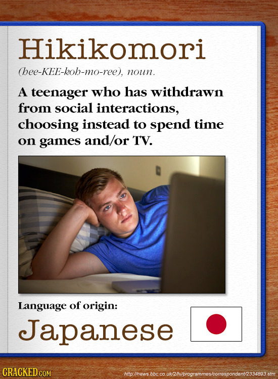 Hikikomori hee-KEE-koh-mo-ree), noun. A teenager who has withdrawn from social interactions, choosing instead to spend time on games and/or TV. Langua