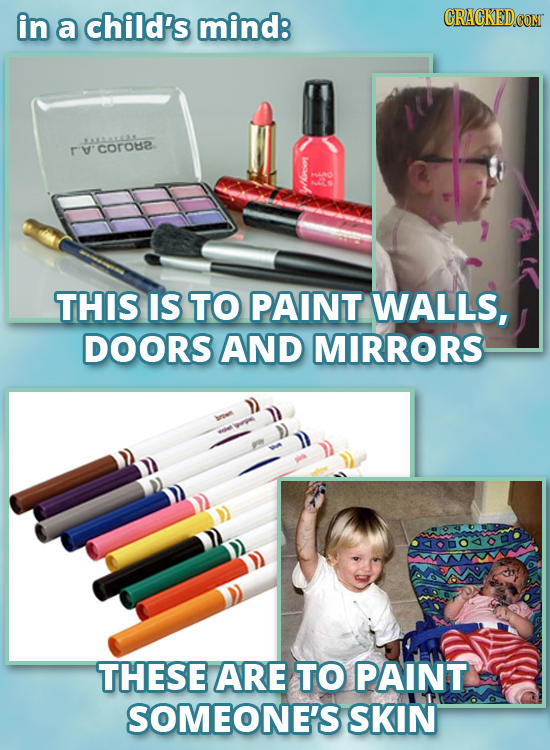 in a child's mind: LALLALLL coroe HANO NOS h THIS IS TO PAINT WALLS, DOORS AND MIRRORS THESE ARE TO PAINT SOMEONE'S SKIN