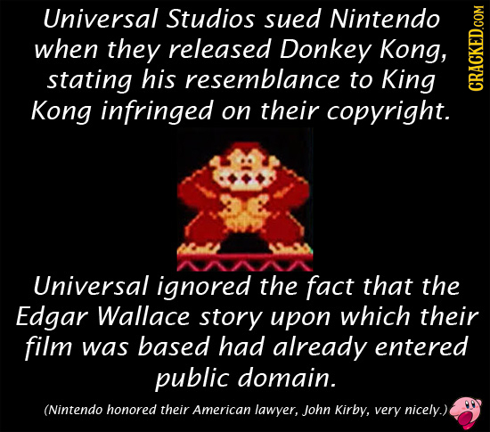 Universal Studios sued Nintendo when they released Donkey Kong, stating his resemblance to King Kong infringed on their copyright. crAh Universal igno