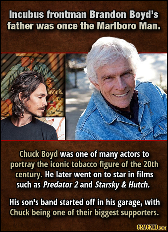 Incubus frontman Brandon Boyd's father was once the Marlboro Man. avori is. Chuck Boyd was one of many actors to portray the iconic tobacco figure of