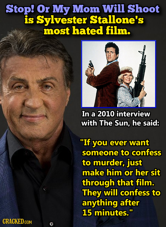 Stop! Or My Mom Will Shoot is Sylvester Stallone's most hated film. In a 2010 interview with The Sun, he said: If you ever want someone to confess to