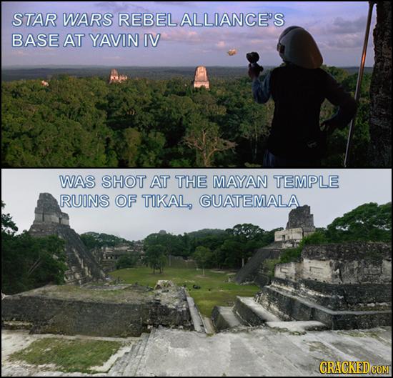 STAR WARS REBEL ALLIANCE'S BASE AT YAVIN IV WAS SHOT AT THE MAYAN TEMPLE RUINS OF TIKAL GUATEMALA