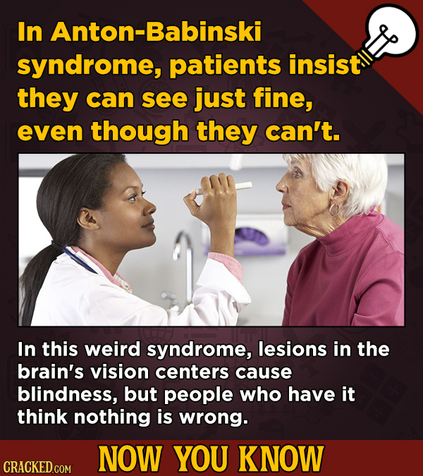 13 Illuminating And Also Entertaining Now-You-Know Facts   In Anton-Babinski syndrome, patients insist they can see just fine, even though they can't.