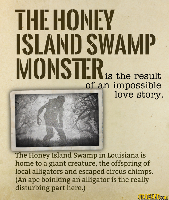 THE HONEY ISLAND SWAMP MONSTER is the result of an impossible love story. The Honey Island Swamp in Louisiana is home to a giant creature, the offspri