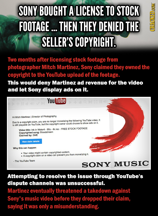 SONY BOUGHT A LICENSE TO STOCK FOOTAGE... THEN THEY DENIED THE CRAGN SELLER'S COPYRIGHT. Two months after licensing stock footage from photographer Mi