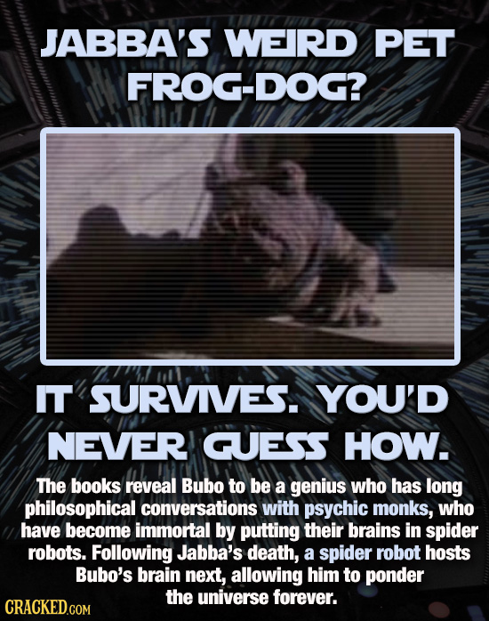JABBA'S WEIRD PET FROG-DOG? IT SURVIVES. YOU'D NEVER GUESS HOW. The books reveal Bubo to be a genius Who has long philosophical conversations with psy