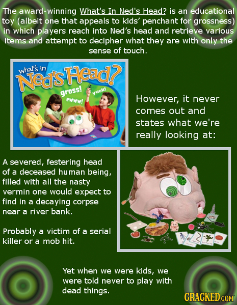 The award-winning What's In Ned's Head? is an educational toy (albeit one that appeals to kids' penchant for grossness) in which players reach into Ne